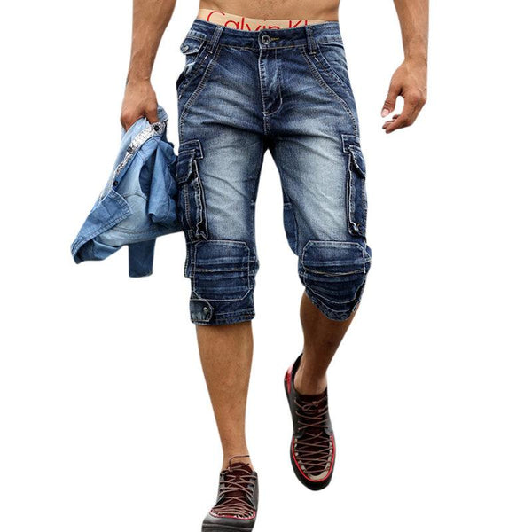 Multi-pockets Over-Knee Casual Short Jeans For Men