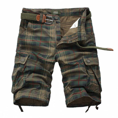 Mens Summer Multi-pocket Cotton Plaid Knee Length Casual Shorts