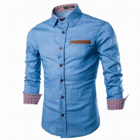 Denim Washed Slim Fit Long Sleeved Shirts Turn-down Collar Shirts