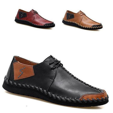 Genuine Leather Handmade Stitching Soft Soles Lace Up Casual Shoes