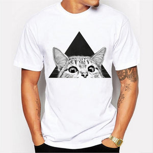Mens Short Sleeve Cat Pattern Printing T-Shirts