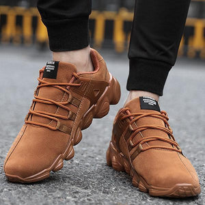 Mens Artificial Suede Slip Resistant Lace Up Casual Sneakers