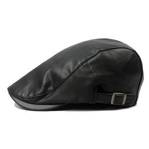 Mens Fashion PU Casual Adjustable Berets Peaked Cap