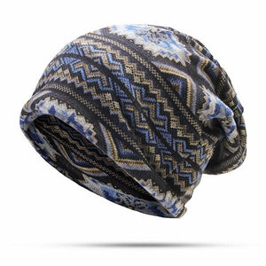 Men Waves Print Beanies Casual Windproof Warm Scarf Bonnet Hats