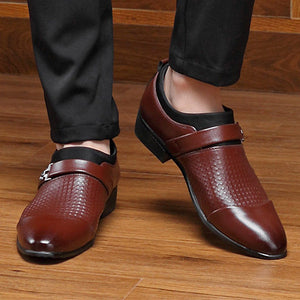 Mens Large Size Stylish Pointed Toe Slip Business Formal Shoes