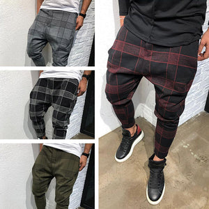 Mens Casual Plaid Printed Slim Fit Sports Pants