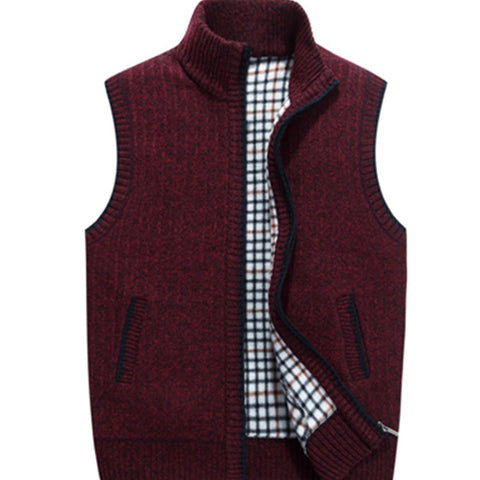 Men's Thicken Warm Solid Color Stand Collar Casual Zipper Vest Knitting Sweaters Vest