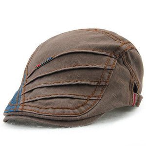 Men Cotton Gill Pattern Double Layer Hard Brim Retro Adjustable Leisure Beret Cap