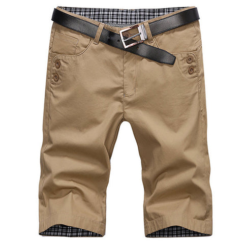 Mens Summer Solid Color Knee Length Cargo Shorts