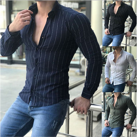 Mens Casual Stripe Long Sleeve Turndown Collar Shirts