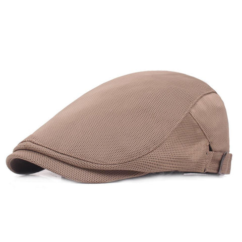 Men's Casual Beret Cap Breathable Mesh Cap Adjustable Pure Color Cap