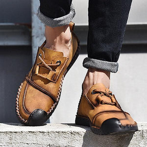 Vintage Cap Toe Hand Stitching Stylish Flat Slip On Casual Shoes