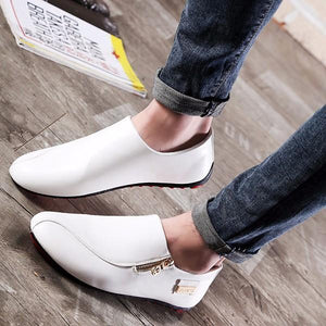 Mens Slip On Casual Comfortable Zipper Loafers Flat Shoes