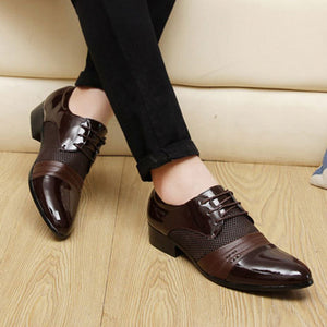 Mens Pointed Toe Lace Up Business Formal Shoes
