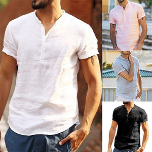 Mens Solid Color Stand Collar Short Sleeve Linen Shirts