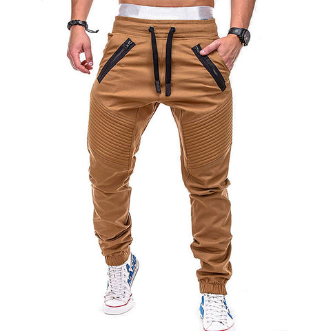 Mens Fashion Pocket Zipper Decorated Elastic Waist Drawstring Jogger Pants
