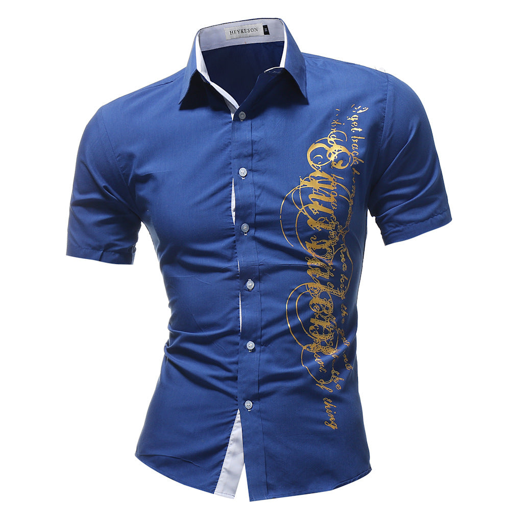 Mens Printed Turndown Collar Short Sleeve Shirts
