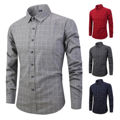 Mens Casual Plaids Printed Sueded Long Sleeve Shirts
