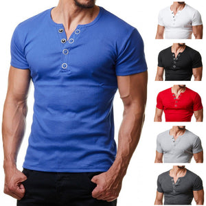 Mens Casual Short Sleeve Metal Button Solid Color T-Shirts