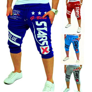 Mens Casual Stars Letters Printed Cropped Pants