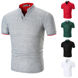 Mens V-neck Stand Collar Golf Shirts Short Sleeve Polo Shirts
