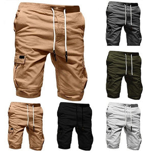 Mens Summer Pocket Decoration Drawstring Casual Shorts