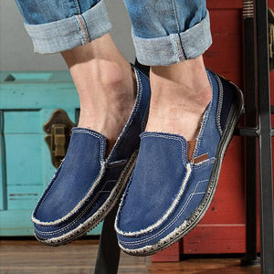 Men Soft Comfortable Slip-on Boat Shoes Canvas Flats