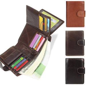 Vintage Multi-slot Genuine Leather Short Wallet