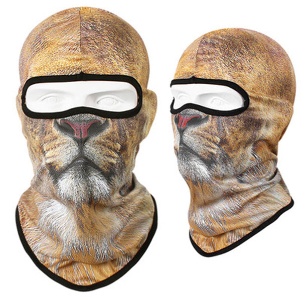 3D Lion Tiger Quick Drying Breathable Motorcycle Full Face Mask