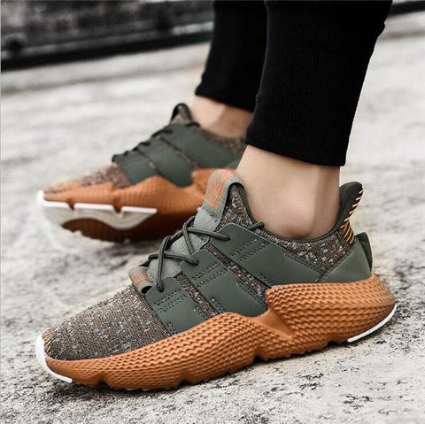 Mens Knitted Fabric Slip Resistant Lace Up Casual Sneakers Athletic Shoes