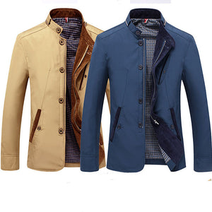 Mens Fashion Slim Fit Casual Solid Jacket