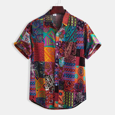Printed  Seaside Short Sleeve Loose Ethnic Style Casual Tops