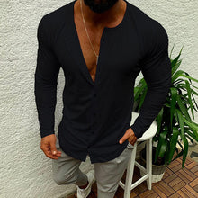 Load image into Gallery viewer, Mens Casual Round Neck Solid Color Long Sleeve T-Shirts