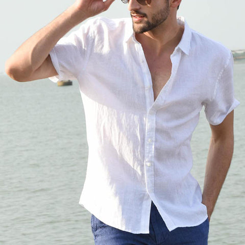 Men's Summer Casual Shirts Plain Short Sleeve Simple Shirts