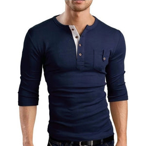 Men's Long Sleeve Pocket Patched Chest Solid T-Shirt