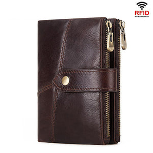 Vintage RFID Protection Genuine Leather Zipper Short Wallet