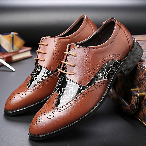 Mens Large Size Carved Brogue Shoes Stylish Formal Shoes