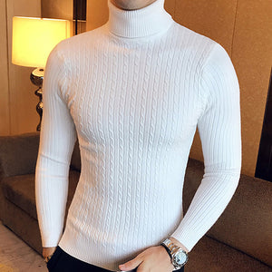 Mens High Turtleneck Sweaters Pullover Autumn Winter Knitwear