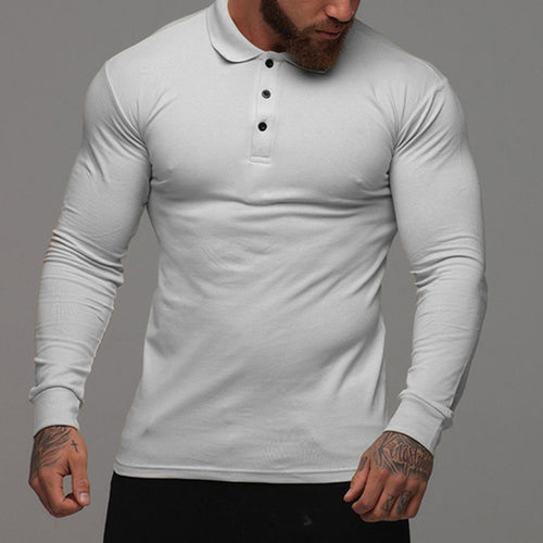 Autumn Winter Long-sleeved Lapel Men's Fitness Sports T-Shirts