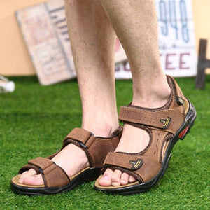 Men Hook and Loop Fastener Leather Breathable Sandals Outdoor Beach Shoes