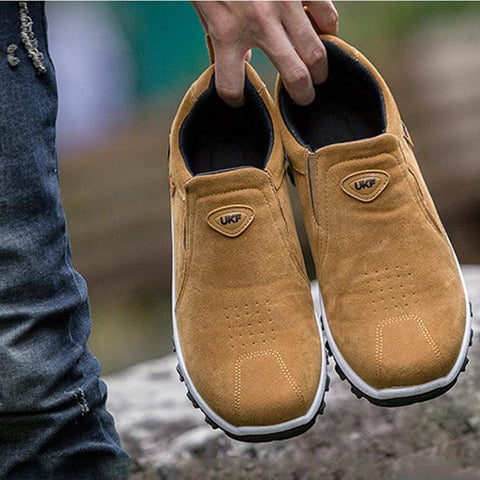 Men Hiking Suede Slip Resistant Slip On Outdoor Sneakers