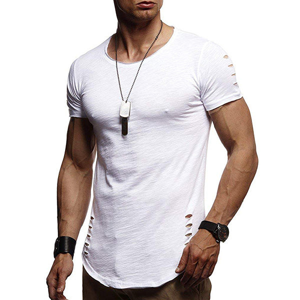 Mens Summer Ripped Holes Short Sleeve T-Shirts