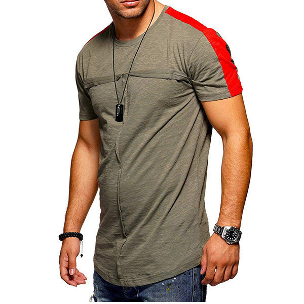 Mens Stripe Color Block Casual Short Sleeve T-Shirts