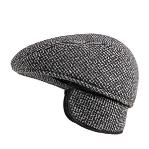 Men Earmuffs Warm Outdoor Beret Hat for Elderly