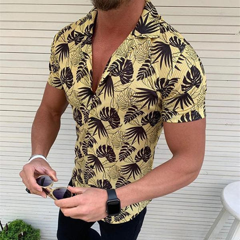 Men's Lapel Short-Sleeve Coconut Leaf Printed Shirt