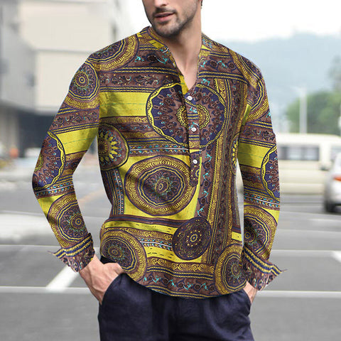 Men's Ethnic Style Casual Floral Burst Shirt