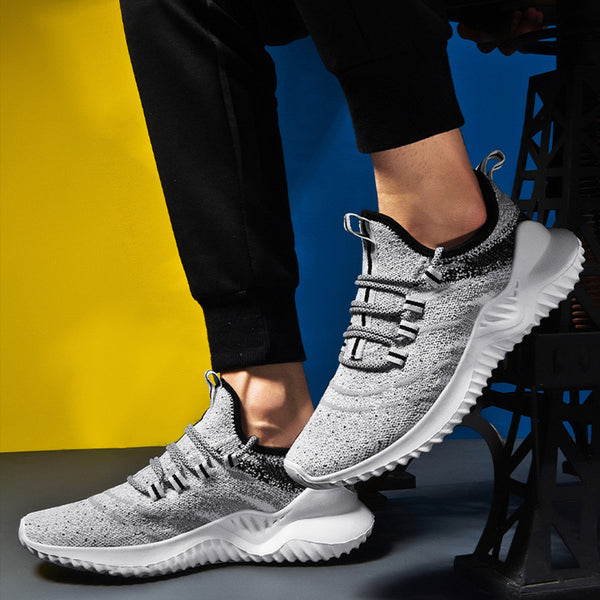 Mens Breathable Flat Mesh Lace-up Sneakers