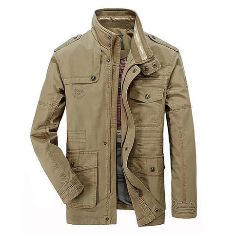 Mens Fashion Casual Multi-pocket Long Jacket