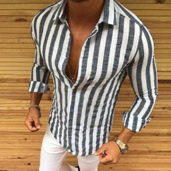 Mens Long Sleeve Casual Turn-down Collar Striped Button Shirts