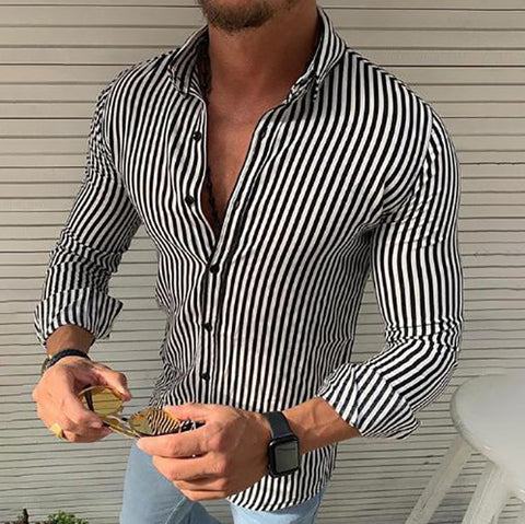 Striped Long Sleeve Button Down Lapel Men's Casual Shirts